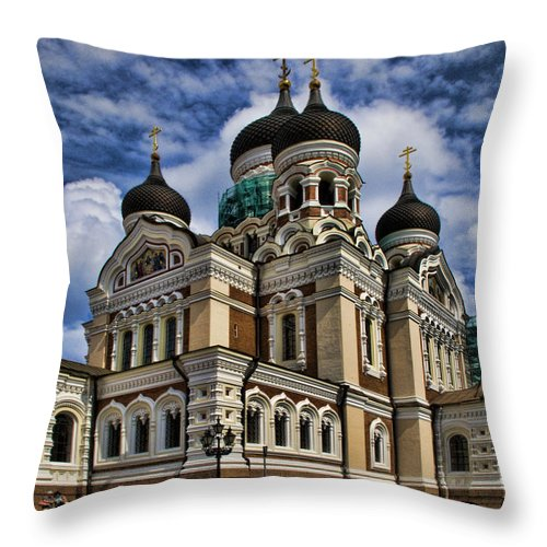 City Throw Pillow featuring the photograph Cathedral In Tallinn by David Smith