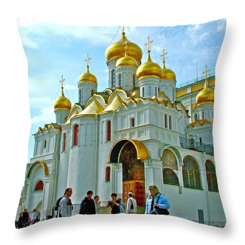 Cathedral Of The Annunciation Inside The Kremlin Wall In Moscow Throw Pillow featuring the photograph Cathedral Of The Annunciation Inside Kremlin Walls In Moscow-russia by Ruth Hager