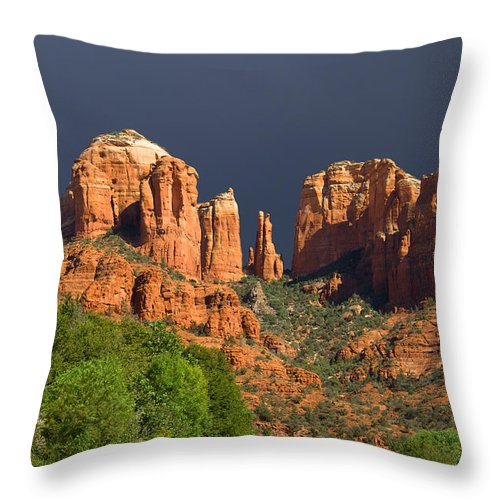 Red Rocks Throw Pillow featuring the photograph Cathedral Rock Before The Storm by Alexey Stiop