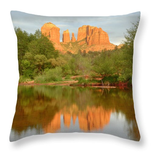 Sedona Throw Pillow featuring the photograph Cathedral Rocks Reflection by Alan Vance Ley
