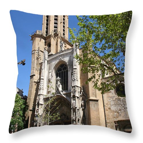 Cathedral Throw Pillow featuring the photograph Cathedral St Sauveur - Aix En Provence by Christiane Schulze Art And Photography