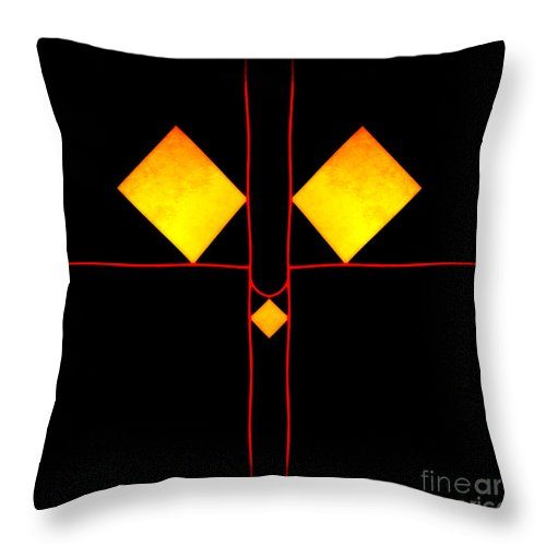 Colored Digital Abstract Image Cat Face Throw Pillow featuring the digital art Flat Cat by Hugh Thompson