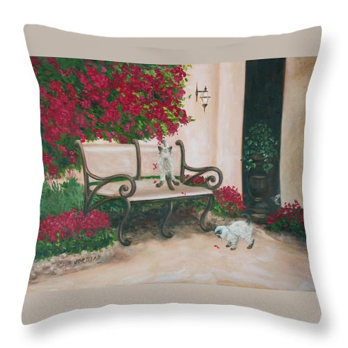 Cat Fine Art Throw Pillow featuring the painting Cat Art Print On Canvas Oil Painting Hire Commission Pet Portrait Artist by Diane Jorstad