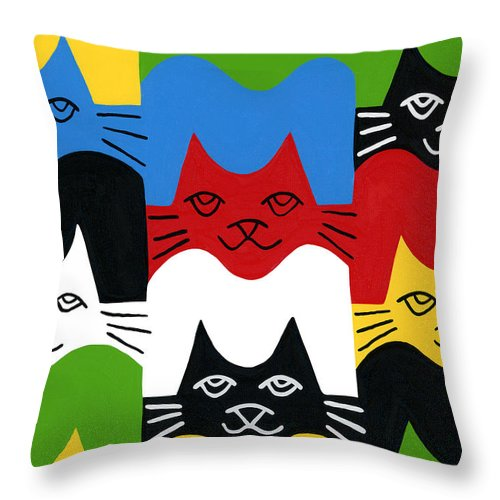 Cat Throw Pillow featuring the painting Cats by Mike Segal