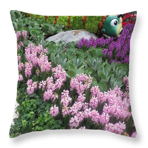 Butterfly Throw Pillow featuring the photograph Catterpillar Large Flower Garden Vegas by Navin Joshi