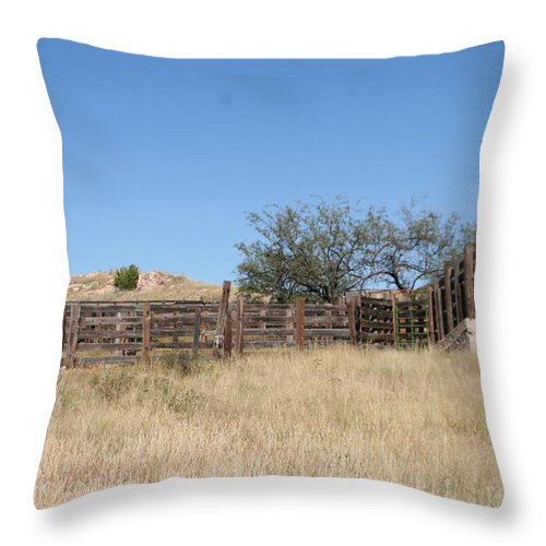 Ranching Throw Pillow featuring the photograph Cattle Pen by David S Reynolds