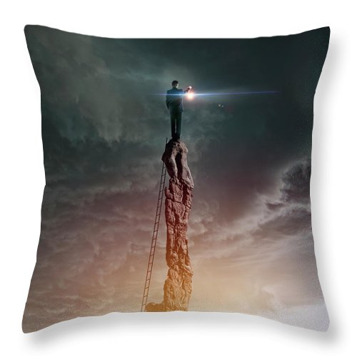 Corporate Business Throw Pillow featuring the photograph Caucasian Man With Lantern On Rocky by Colin Anderson Productions Pty Ltd