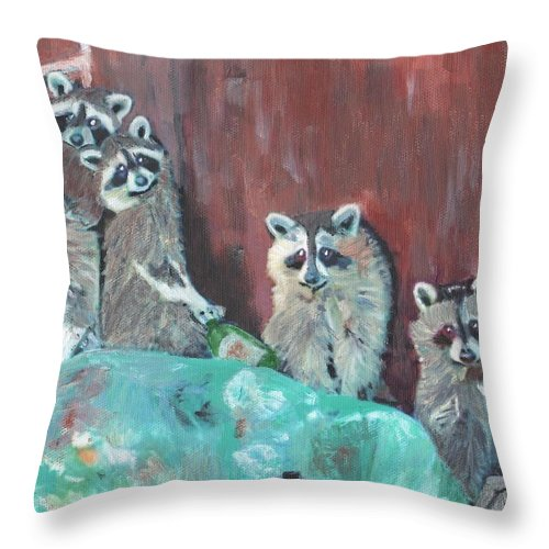 Raccoons Throw Pillow featuring the painting Caught by Cliff Wilson