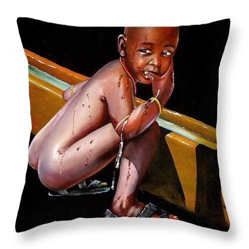 African Paintings Throw Pillow featuring the painting Caught Drinking At The Trough by Chagwi