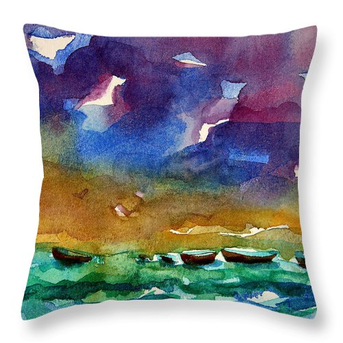 Ocean Throw Pillow featuring the painting Cayman Color Water by Julianne Felton