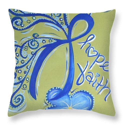 Colon Cancer Hope Faith Fight Cure Disease Ribbon Butterfly Flower Throw Pillow featuring the painting Cc Hope by Emily Marie
