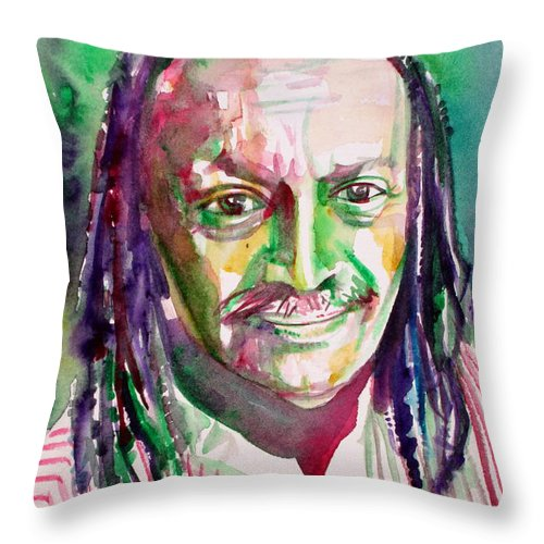Cecil Throw Pillow featuring the painting Cecil Taylor - Watercolor Portrait by Fabrizio Cassetta