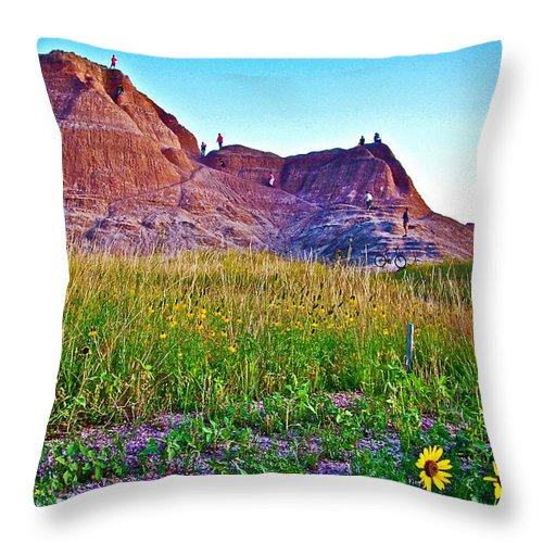 Cedar Pass At Dusk In Badlands National Park Throw Pillow featuring the photograph Cedar Pass At Dusk In Badlands National Park-south Dakota by Ruth Hager