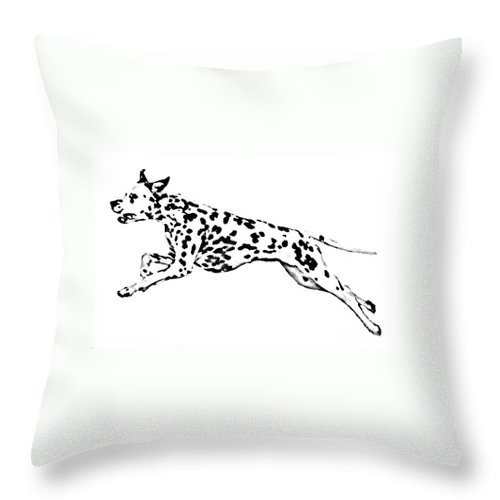 Dogs Throw Pillow featuring the drawing Celebrate by Jacki McGovern