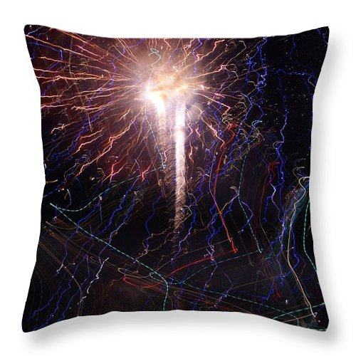 Fireworks Throw Pillow featuring the photograph Celebration Fireworks Grand Lake Co 2007 by Jacqueline Russell