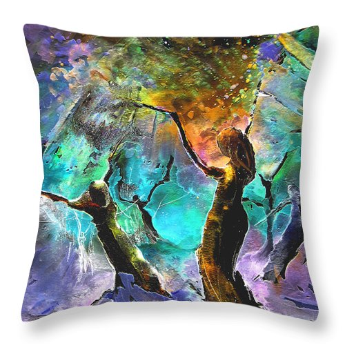 Miki Throw Pillow featuring the painting Celebration Of Life by Miki De Goodaboom