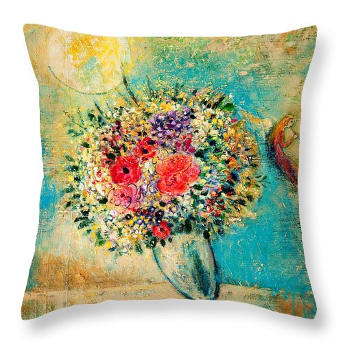 Flower Throw Pillow featuring the painting Celebration by Shijun Munns