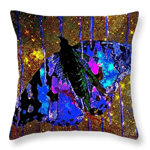 Celestial Butterfly Throw Pillow featuring the painting Celestial Butterfly by Saundra Myles