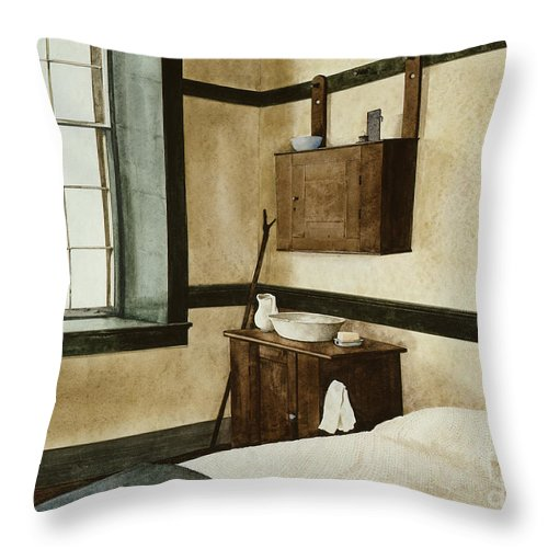 The Interior Of One Of The Bedrooms In The Center Family Dwelling At The Pleasant Hill Shaker Village In Kentucky. Throw Pillow featuring the painting Celibate by Monte Toon