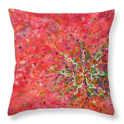 Abstract Paintings Throw Pillow featuring the painting Cell No. 3 by Angela Canada-Hopkins