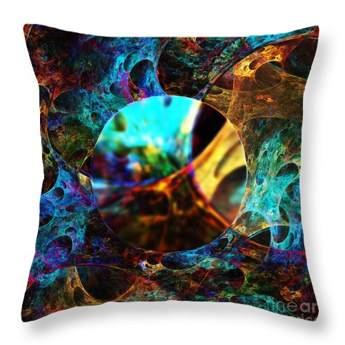 Cells Throw Pillow featuring the digital art Cell Research by Klara Acel