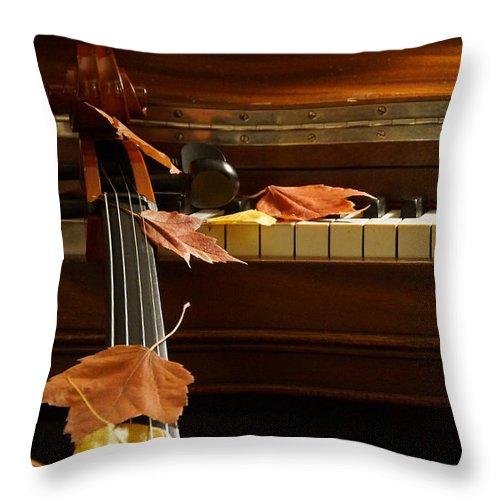 Cello Throw Pillow featuring the photograph Cello Autumn 2 by Mick Anderson