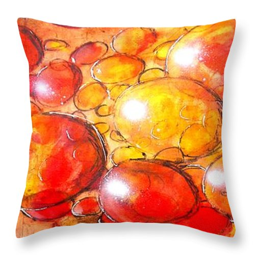 Abstract Throw Pillow featuring the painting Cells by Marcello Cicchini