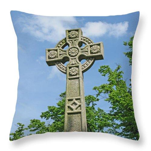Cross Throw Pillow featuring the photograph Celtic Cross by Ann Horn