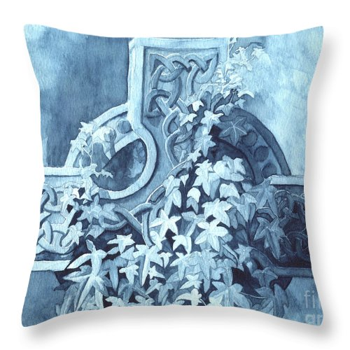 Celtic Cross Throw Pillow featuring the painting Celtic Cross Study by Lynn Quinn