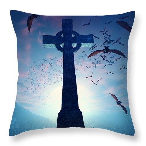 Cross Throw Pillow featuring the photograph Celtic Cross with swarm of bats by Johan Swanepoel