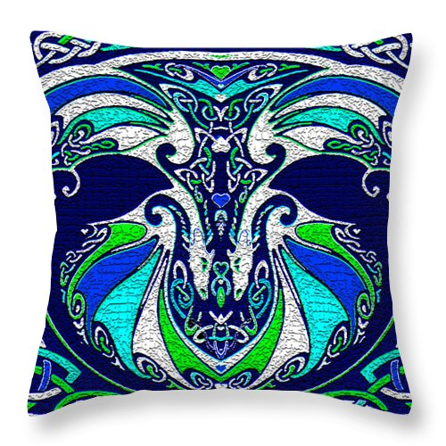Dragons Throw Pillow featuring the digital art Celtic Love Dragons by Michele Avanti