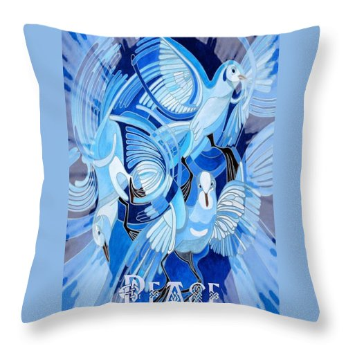 Christmas Throw Pillow featuring the painting Celtic Peace Dove Greeting Card by Taiche Acrylic Art