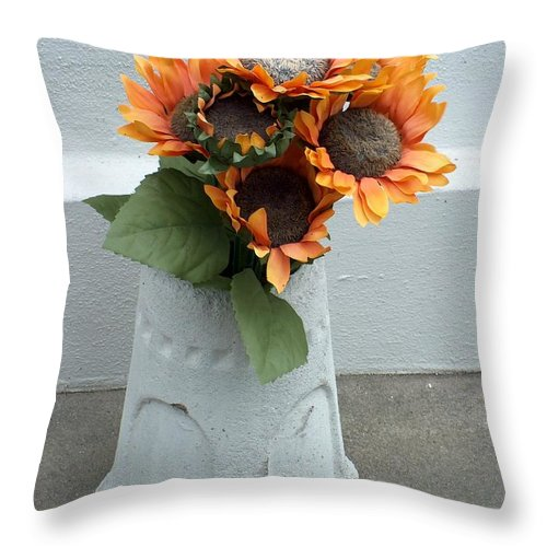 Flower Throw Pillow featuring the photograph Cemetary Flowers 1 by Richard Booth