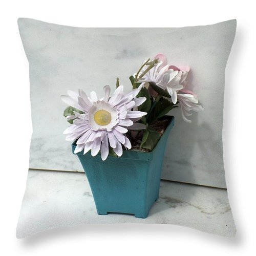 Cemetary Throw Pillow featuring the photograph Cemetary Flowers 3 by Richard Booth