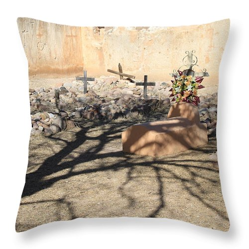 Cemetery Throw Pillow featuring the photograph Cemetery Tumacacori Mission by Ed Riche