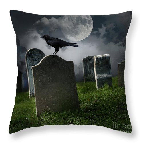 Background Throw Pillow featuring the photograph Cemetery With Old Gravestones And Moon by Sandra Cunningham