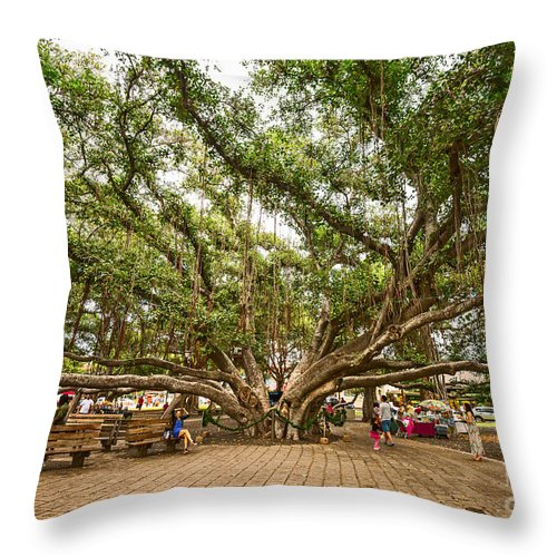 Banyan Tree Park Throw Pillow featuring the photograph Central Court - Banyan Tree Park In Maui. by Jamie Pham