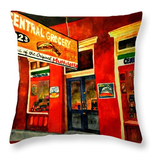 New Orleans Throw Pillow featuring the painting Central Grocery by Jill Jacobs