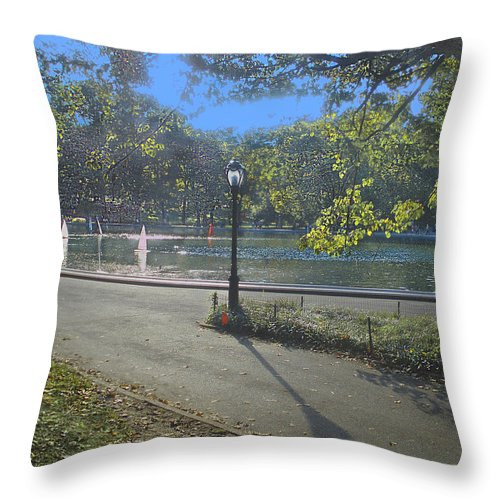 Central Park Throw Pillow featuring the photograph Central Park In September 2 by Muriel Levison Goodwin