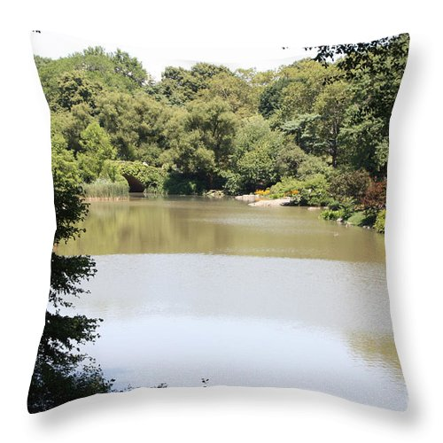 Central Park Lake Throw Pillow featuring the photograph Central Park Lake by John Telfer