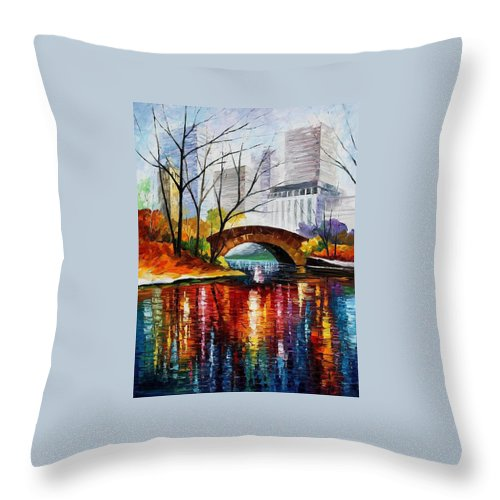 Oil Paintings Throw Pillow featuring the painting Central Park - Palette Knife Oil Painting On Canvas By Leonid Afremov by Leonid Afremov