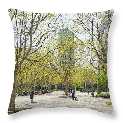 Architecture Throw Pillow featuring the photograph Central Shanghai Park In China by Jacek Malipan