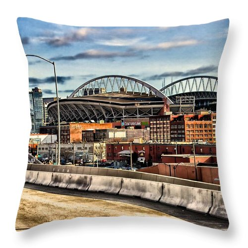 Century Throw Pillow featuring the photograph Century Link Field Seattle Washington by Michael Rogers