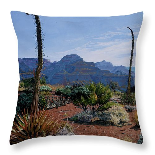 Tim Gordon Throw Pillow featuring the painting Century Sentinels by Timithy L Gordon