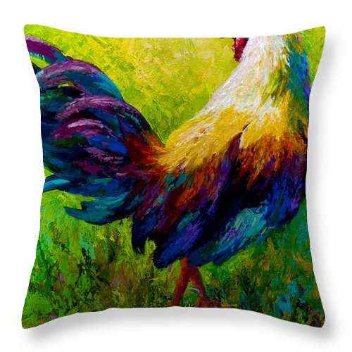 Rooster Throw Pillow featuring the painting Ceo Of The Ranch by Marion Rose