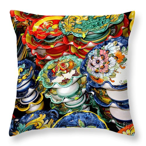 Vietri Sul Mare Throw Pillow featuring the photograph Ceramics Of Vietri Sul Mare by Jennie Breeze