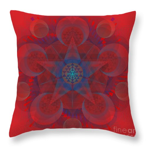 Mandala Throw Pillow featuring the digital art Cerise 2015 by Kathryn Strick