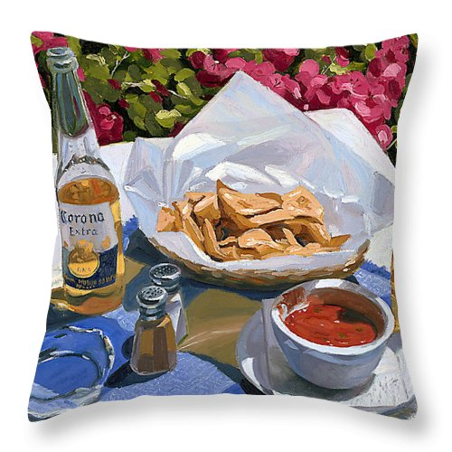 Beer Throw Pillow featuring the painting Cervezas Y Nachos - Coronas With Nachos by Steve Simon
