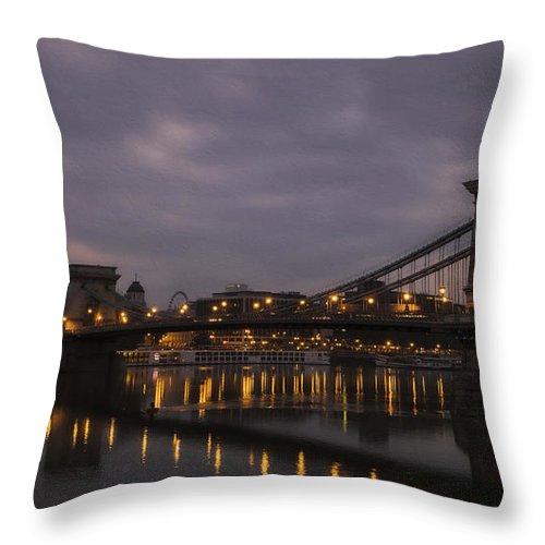 Joan Carroll Throw Pillow featuring the photograph Chain Bridge Dawn by Joan Carroll