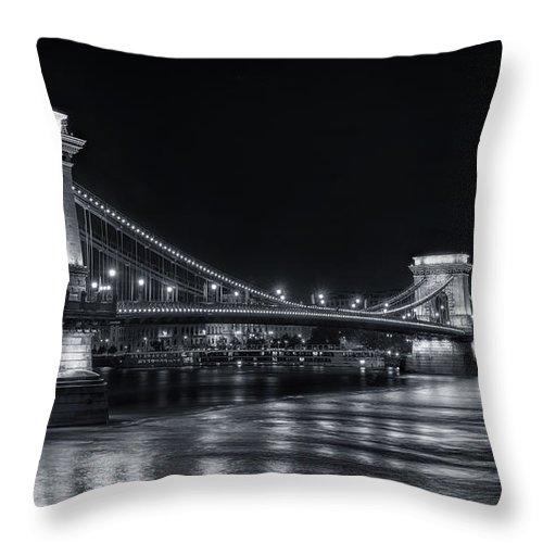 Joan Carroll Throw Pillow featuring the photograph Chain Bridge Night Bw by Joan Carroll